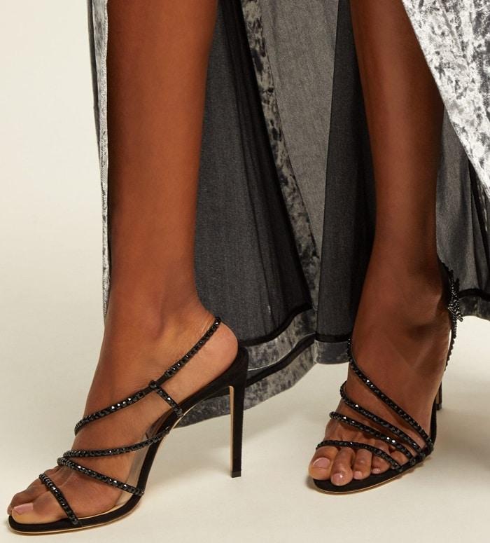 Black Crystal-Embellished Star Lynn Sandals