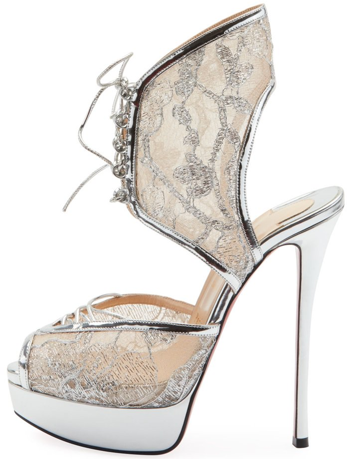 Christian Louboutin sandals in metallic dentelle lace with specchio leather piping