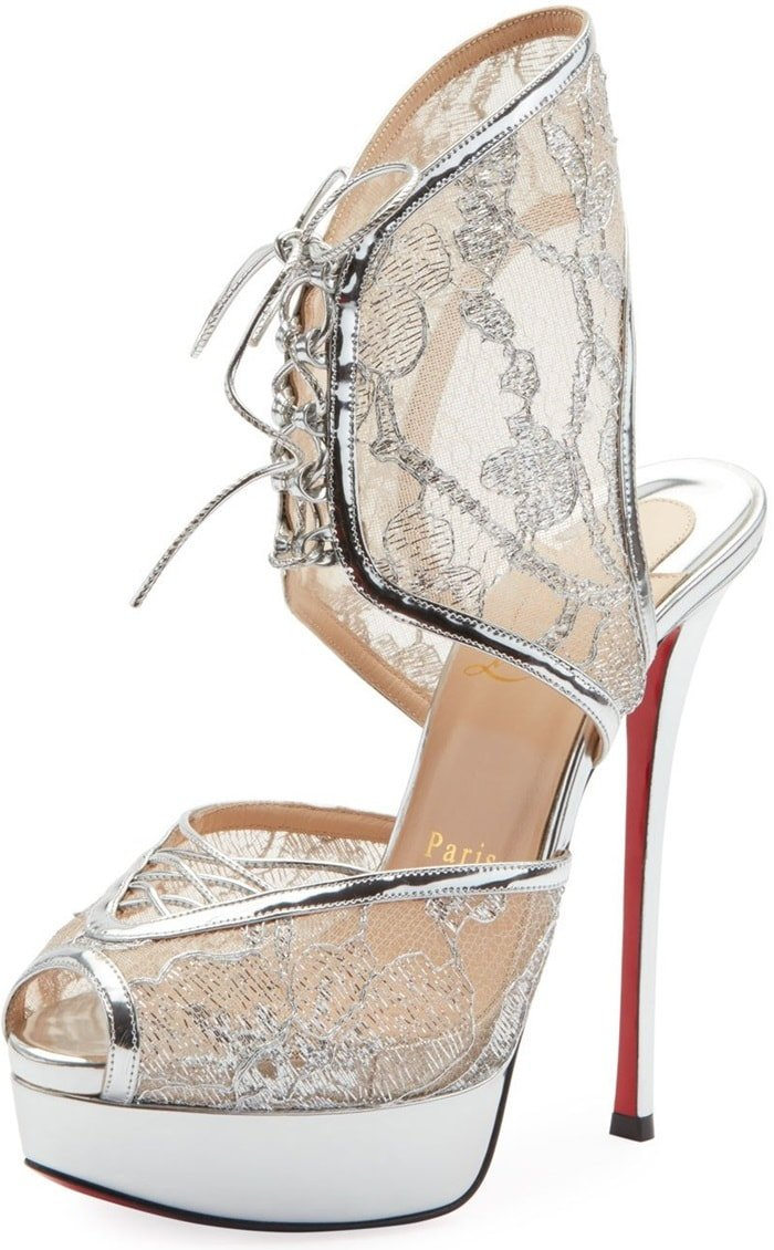 Silver Jose Altafine Lace Red Sole Sandals