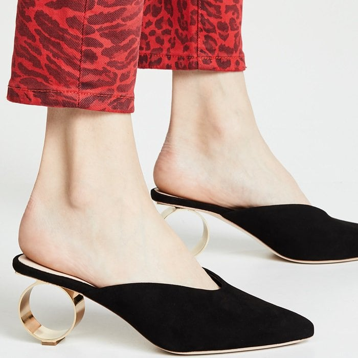 Black Suede Juno Mules With Cylindrical Heels