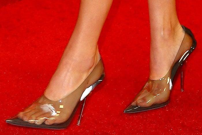 Kendall Jenner's sweaty feet in clear Yeezy pumps