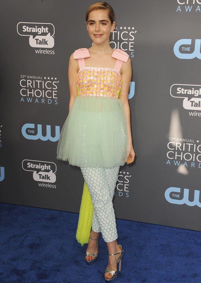 Kiernan Shipka wearing Delpozo at the 2018 Critics' Choice Awards at The Barker Hangar in Santa Monica, California, on January 11, 2018