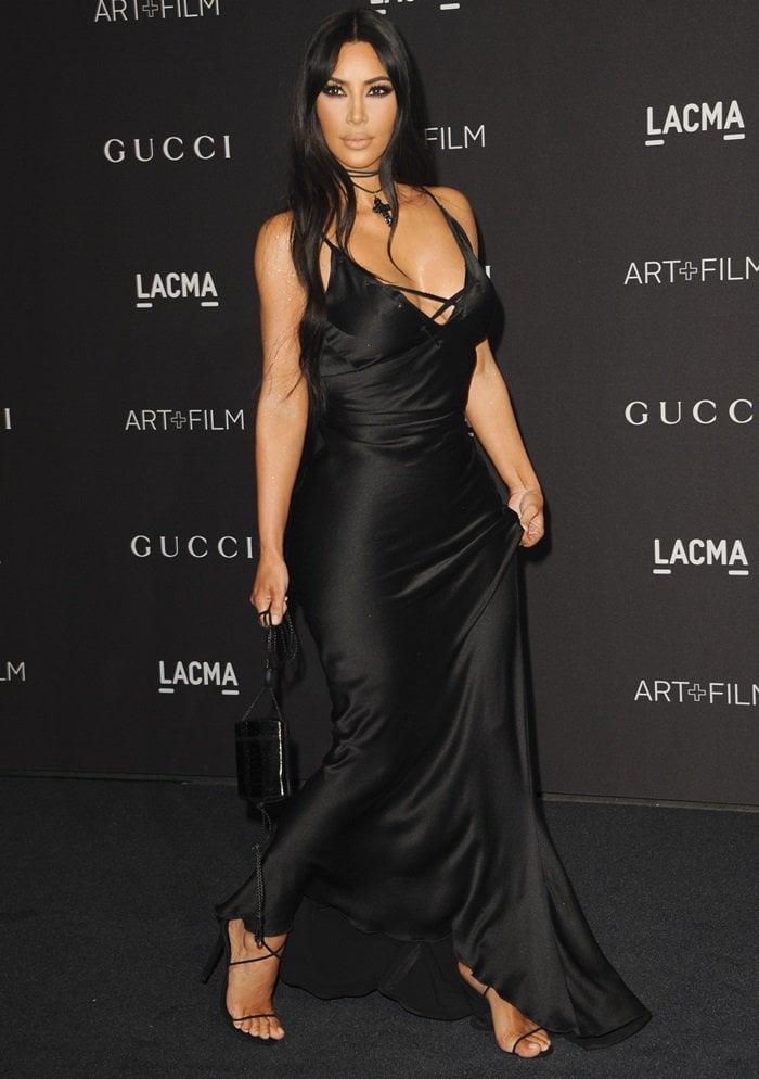 Kim Kardashian wearing a Gucci Fall 2002 dress designed by Tom Ford