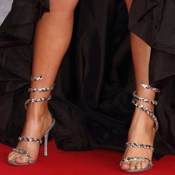 Mabel McVey's hot feet in René Caovilla Cleo Maxi Strass sandals