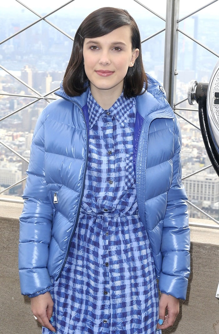 Millie Bobby Brown lights the Empire State Building blue to honor World Children's Day in New York City on November 20, 2018
