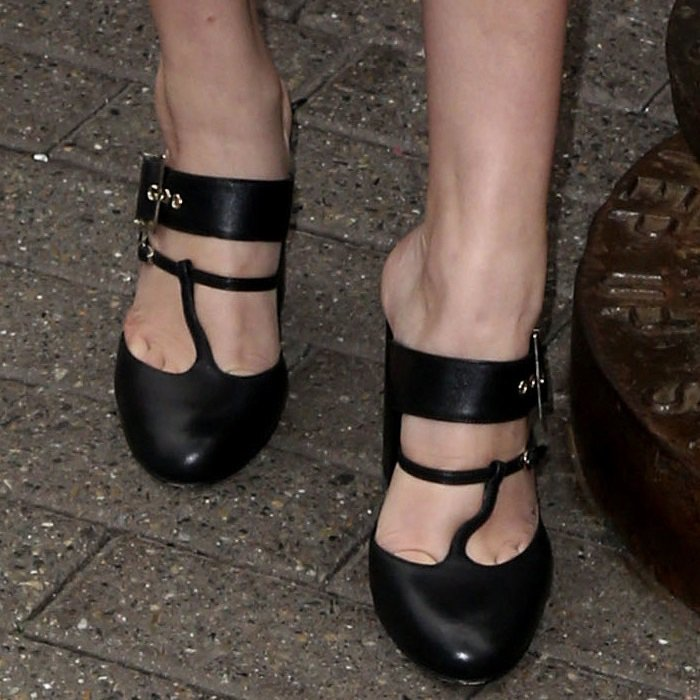 Millie Bobby Brown shows off her feet in hideous Chloe Gosselin Olympe mules