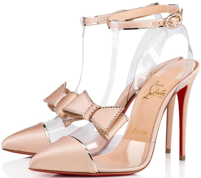 Nude Naked Bow Red Sole Pumps