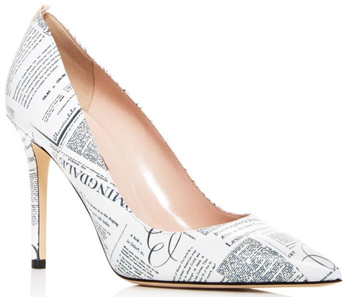 Newsprint Print Fawn Pointy-Toe Pumps