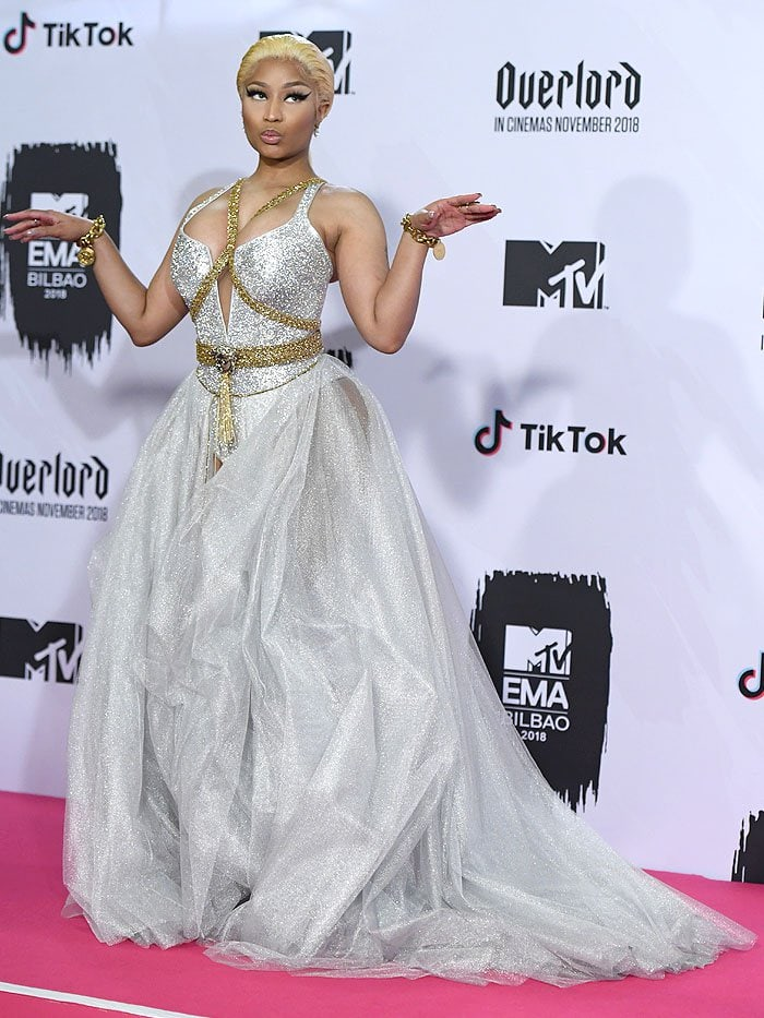 Nicki Minaj posing on the pink carpet at the 2018 MTV Europe Music Awards held at the Bilbao Exhibition Centre in Bilbao, Spain, on November 4, 2018