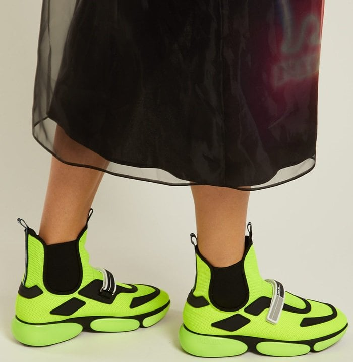 Cloudbust high-top tennis shoes in fluorescent yellow by Prada