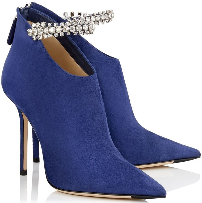 Pop Blue Suede Bootie with Crystal Strap