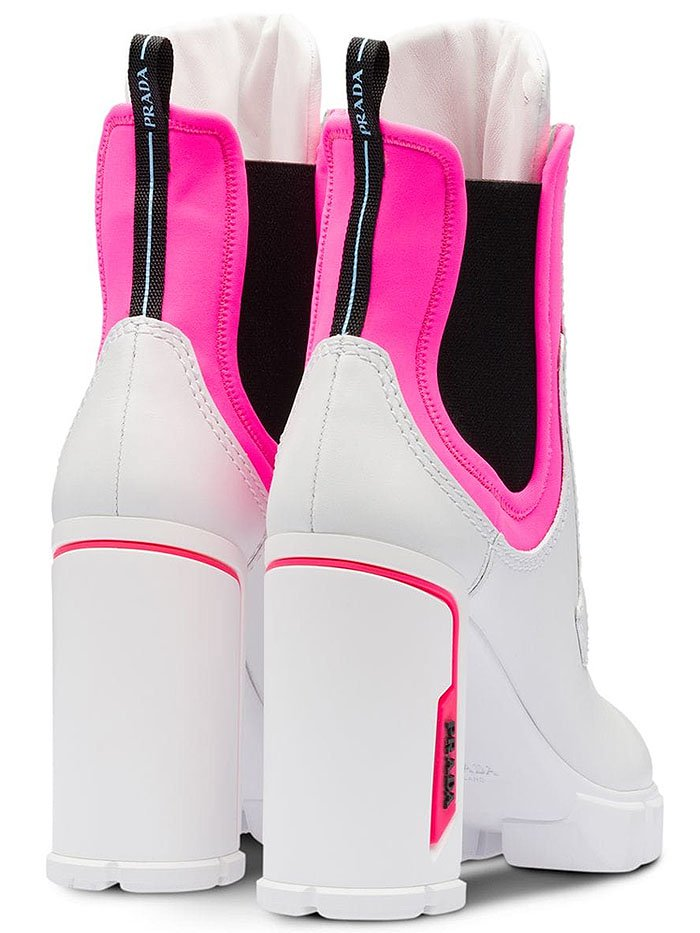 Prada neon-pink-trim white-leather sporty booties