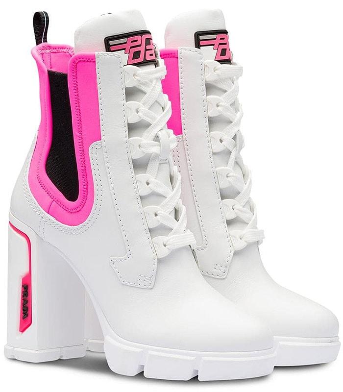 Prada pink-neon-trim sporty chunky-heel booties