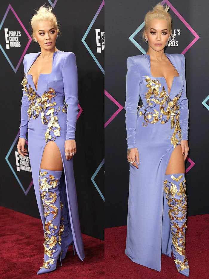 Rita Ora wearing an Atelier Versace Fall 2018 long-sleeved thigh-split dress and matching thigh-high boots