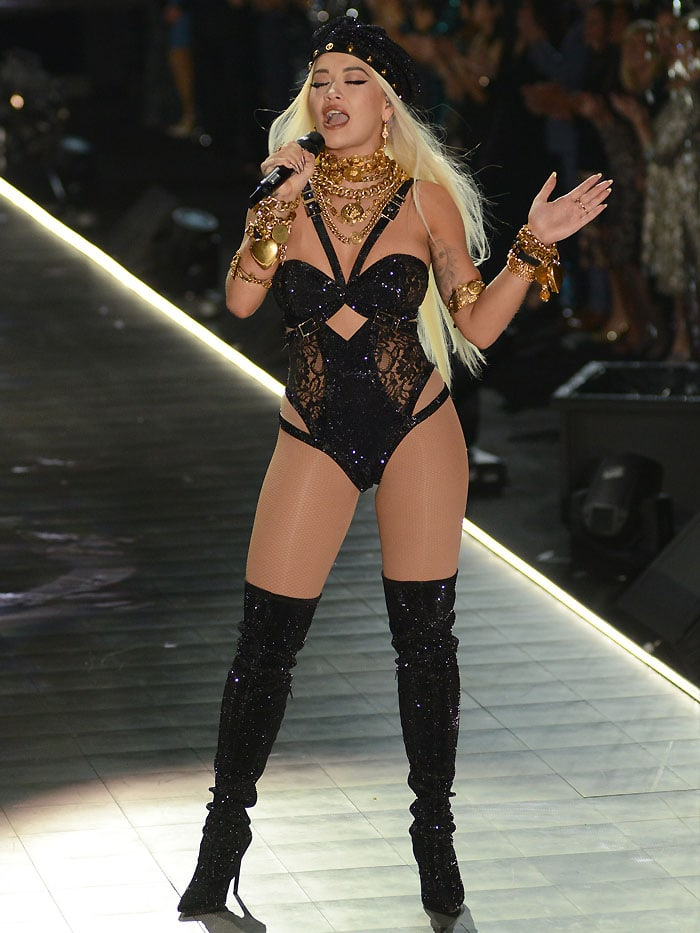 Rita Ora performing live on-stage at the 2018 Victoria's Secret Fashion Show