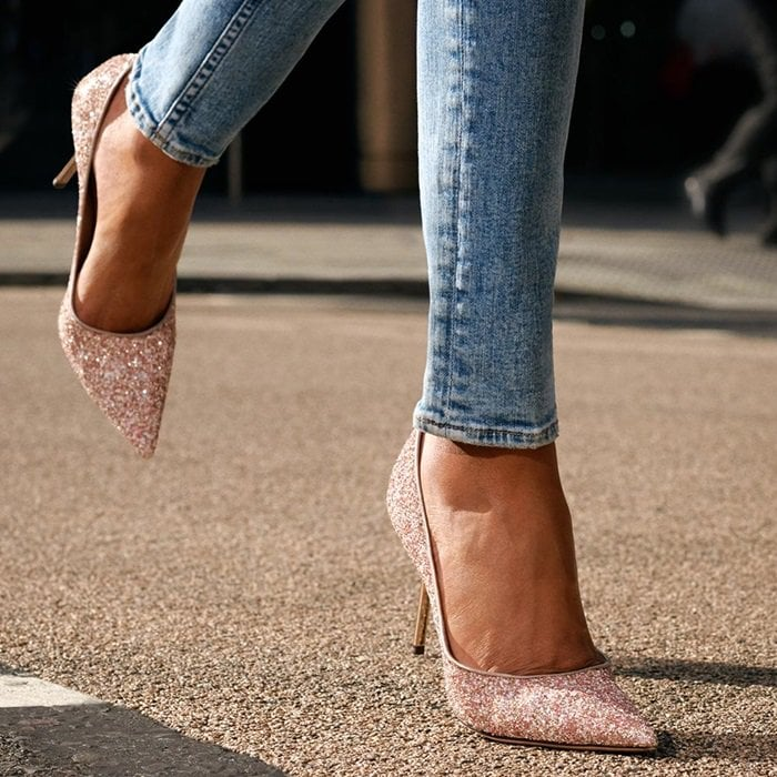 Rosewood Painted Glitter Fabric Pointy Toe Pumps