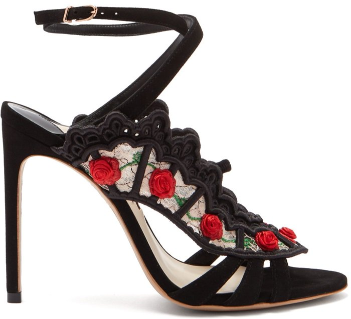 SOPHIA WEBSTER black Carmen 100 floral embellished lace suede sandals