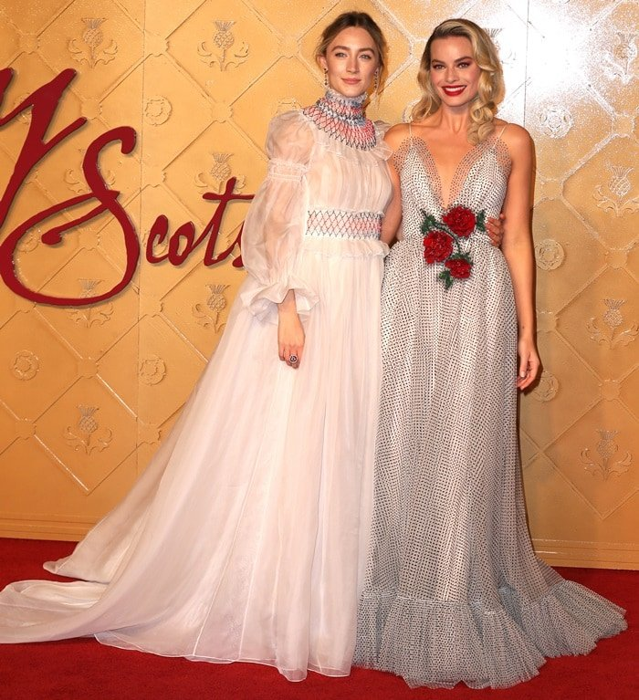 Margot Robbie and Saoirse Ronan walked the red carpet at the European premiere of their new movie Mary Queen of Scots at Cineworld Leicester Square in London, England, on December 10, 2018
