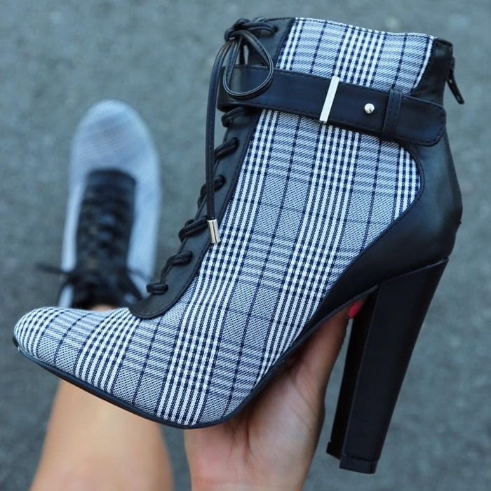 Sexy Black Plaid Lace Up Chunky High Heels Booties