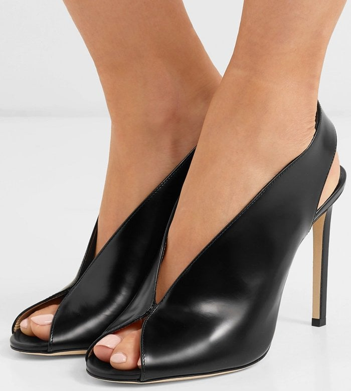 Shar 100 glossed-leather slingback pumps