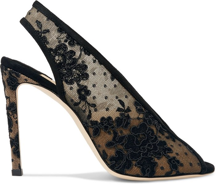 Shar in black floral lace is an open heel sandal bootie characterised by the deep V that travels down the front of the upper providing a sexy reveal of the foot