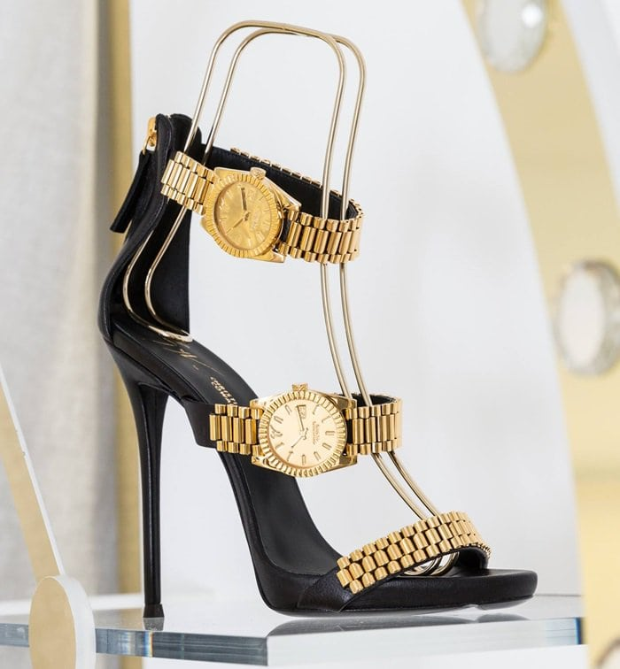 Classic sandals modeled after a Rolex watch