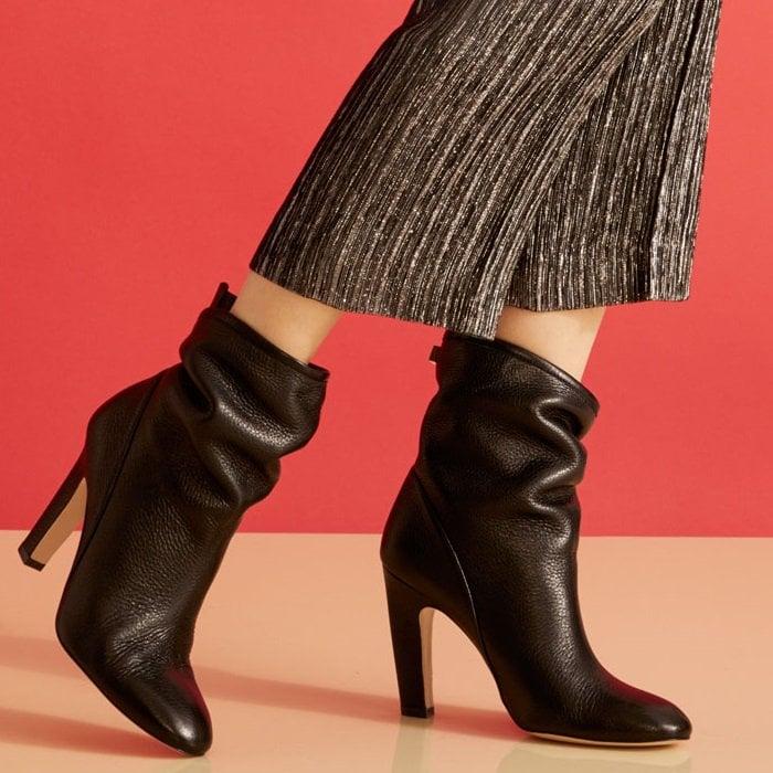 Black Leather Brooks Booties