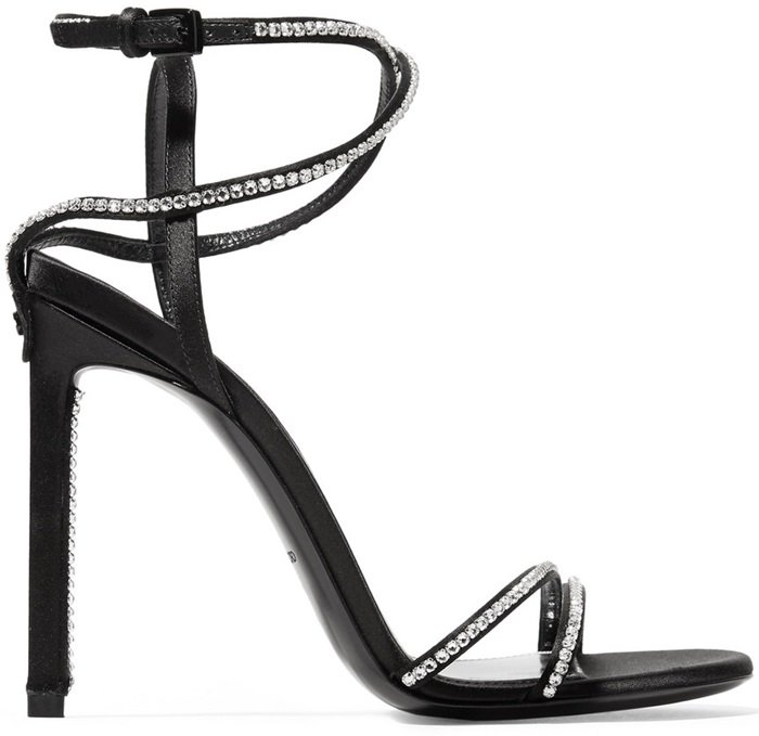 Crafted in Italy from lustrous black satin, these sandals are embellished with delicate crystals along the straps that elegantly wrap around your ankle