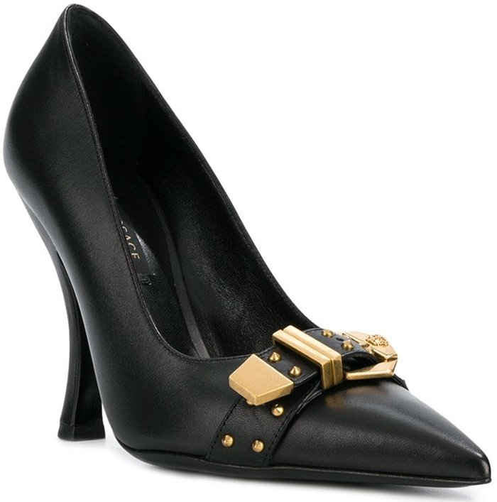 Black calf leather and leather buckled front pumps from Versace featuring a pointed toe, a branded insole, a gold-tone buckle fastening and a high heel.