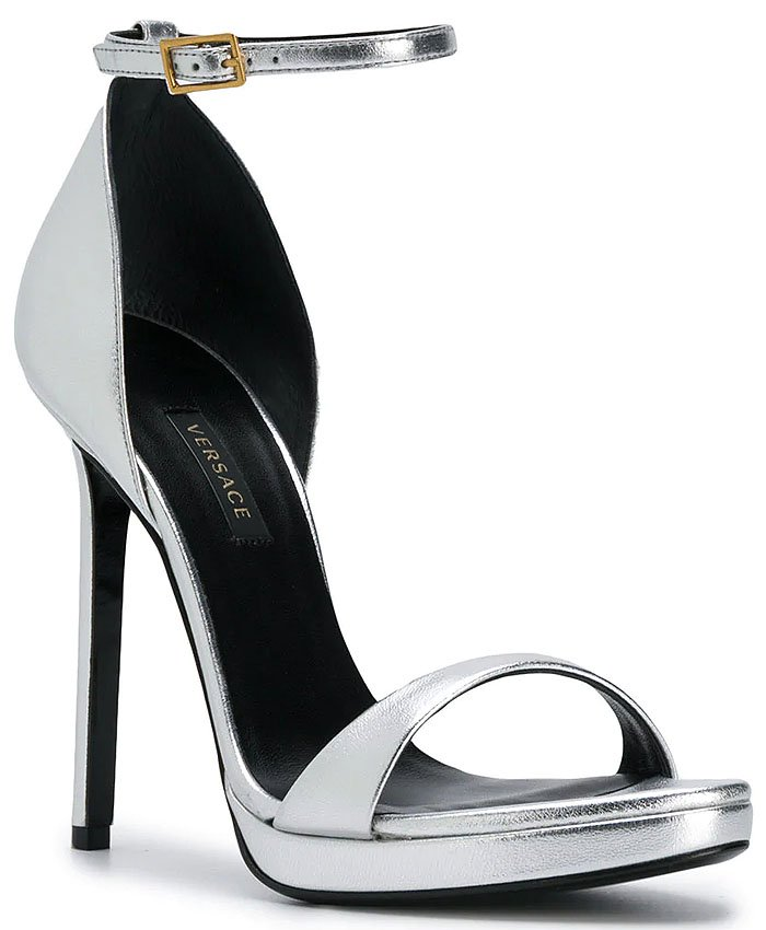 Versace Metallic Ankle-Strap Sandals