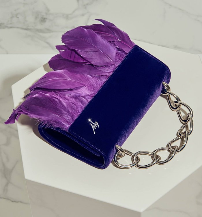 Violet Velvet Talia Clutch With Feathers