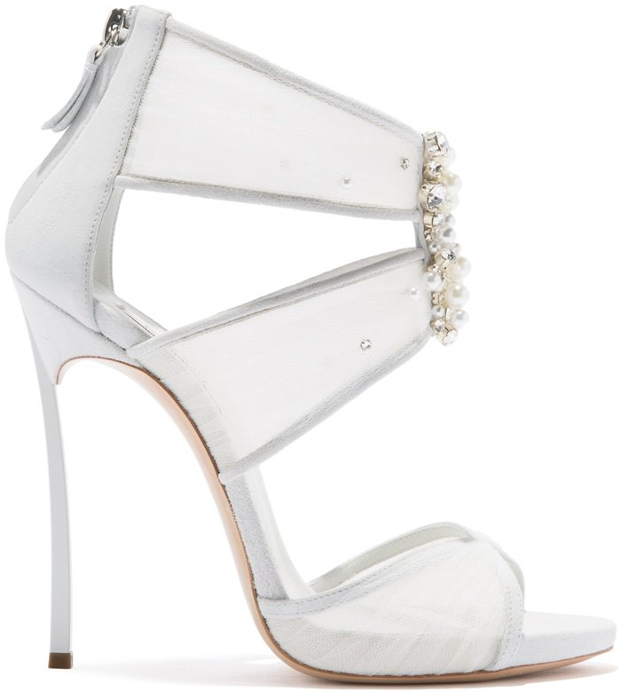 White Angelica Crystal-Embellished Sandals