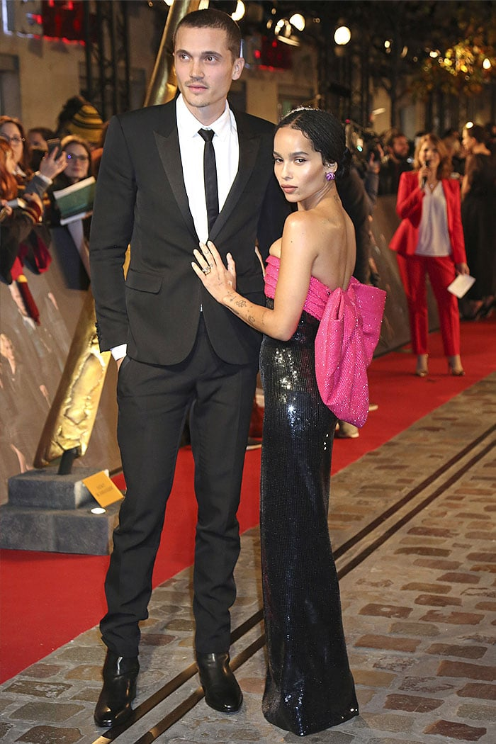 "Zoe Kravitz posing with fiance Karl Glusman at the World Premiere of ""Fantastic Beasts: The Crimes Of Grindelwald"" held at UGC Cine Cite Bercy in Paris, France, on November 8, 2018"