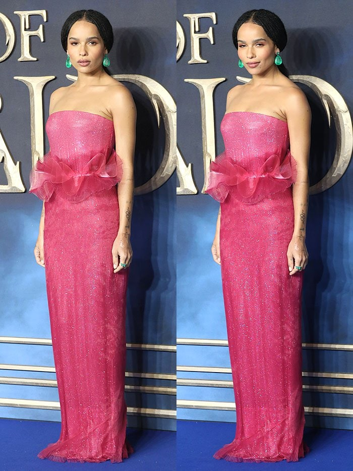 Zoe Kravitz in an Armani Prive Fall 2018 pink strapless dress and matching custom Sophia Webster 'Rosalind' sandals