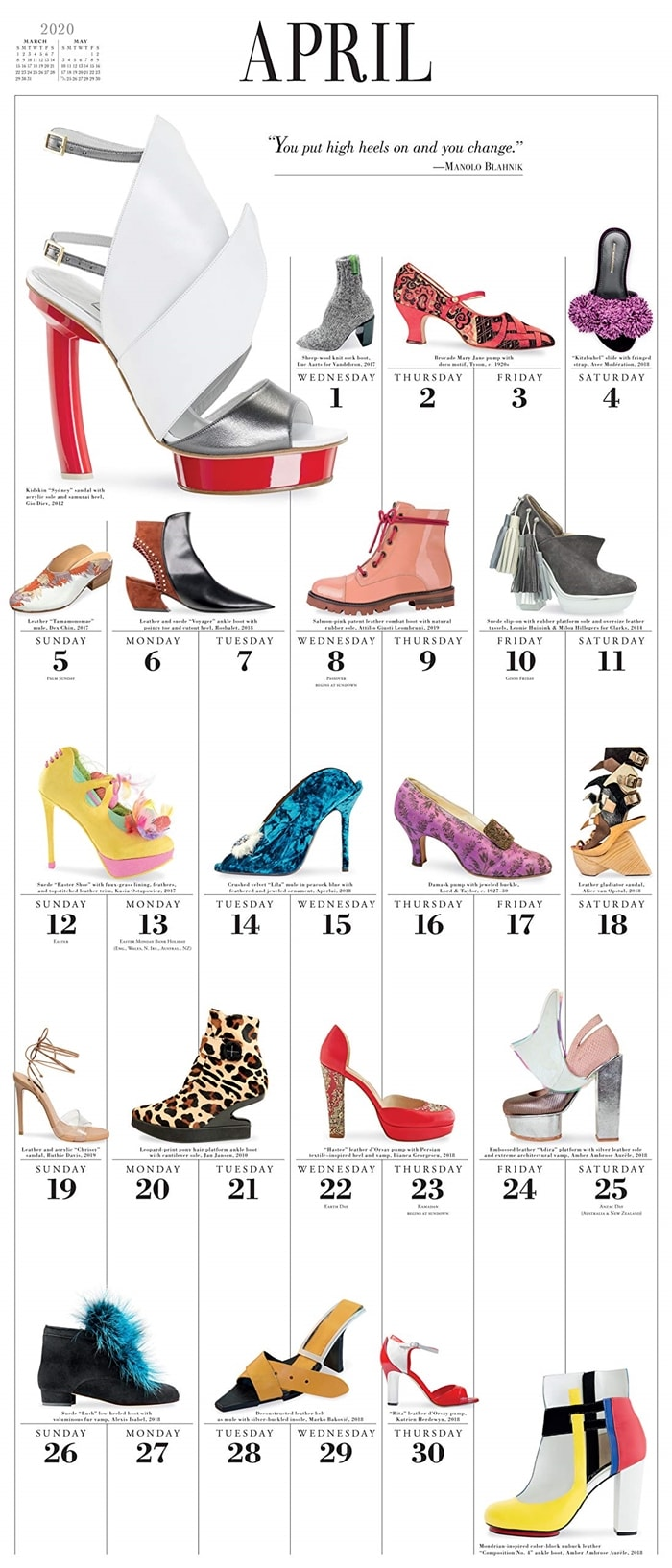 365 Days of Shoes Picture-A-Day Wall Calendar 2020 April