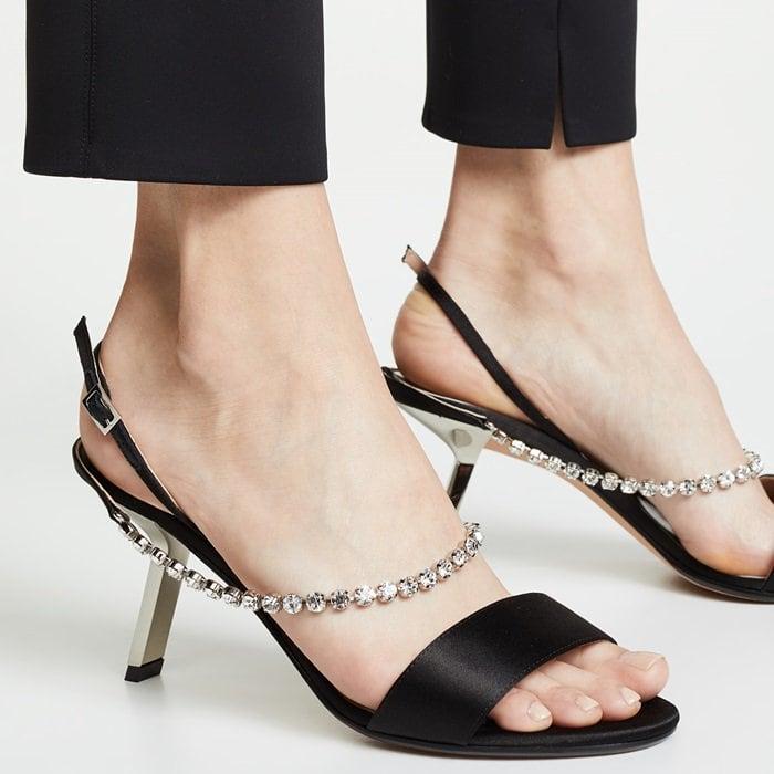 Black Pethia Satin Slingback Sandals