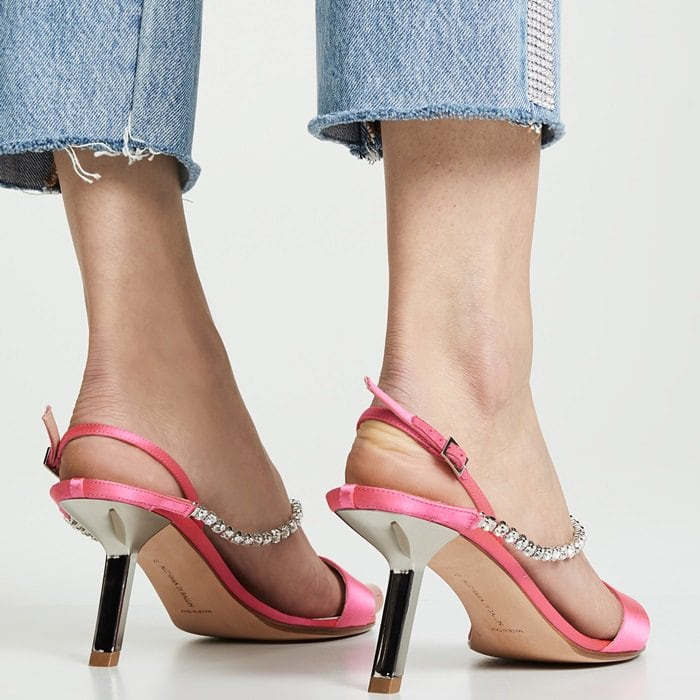 Made in Italy, Alchimia di Ballin's Pethia slingback sandals are constructed of pink satin