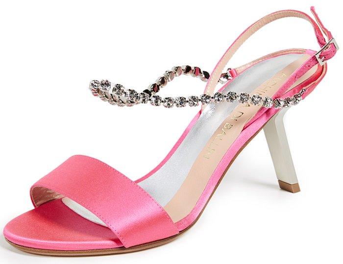 Pink Pethia Satin Slingback Sandals