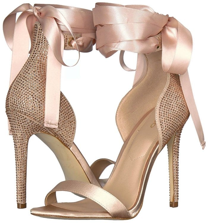 Light Pink Mirilian Glitter Satin Tie Ankle Strap Shoes