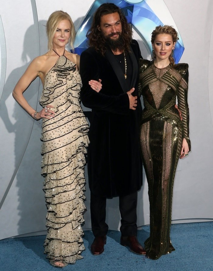 Nicole Kidman, Jason Momoa, and Amber Heard at the Aquaman premiere at the TCL Chinese Theatre premiere in Los Angeles on December 12, 2018