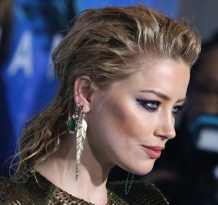 Amber Heard rocked a variety of jewelry by Ana Khouri, AS29, and Jacquie Aiche