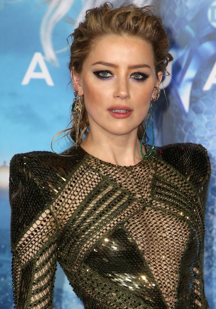Amber Heard's seaweed-metallic embellished long-sleeve dress from Julien Macdonald