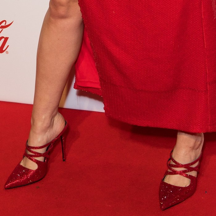 Anne-Marie put her pretty feet on display in pointy-toe 'Charlotta' mule from Dune London