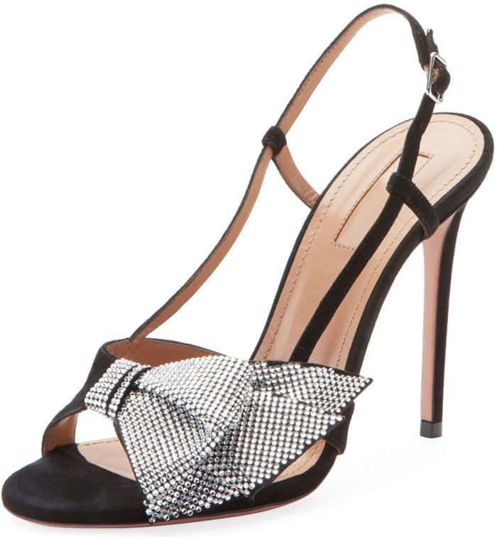 Aquazzura suede sandals with crystal bow appliqué