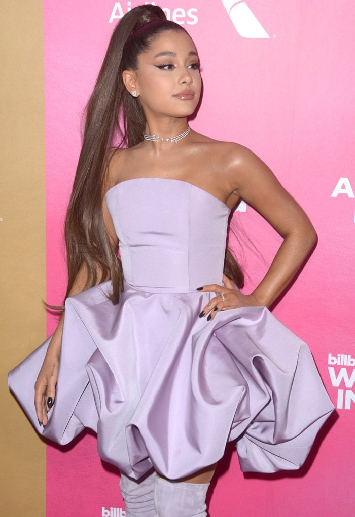 Ariana Grande With Faux Ponytail Extension In Lavender