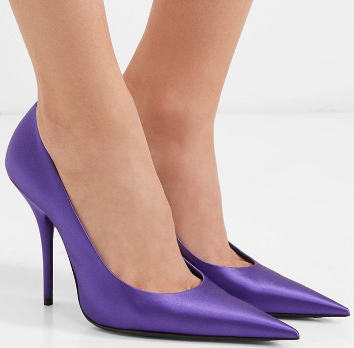Recognizable by their razor-thin stiletto heel and equally pointed toe, these 'Knife' pumps are updated for the season in lustrous purple satin.