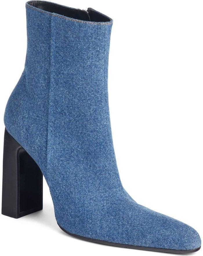 Denim Round-Toe Block-Heel Booties