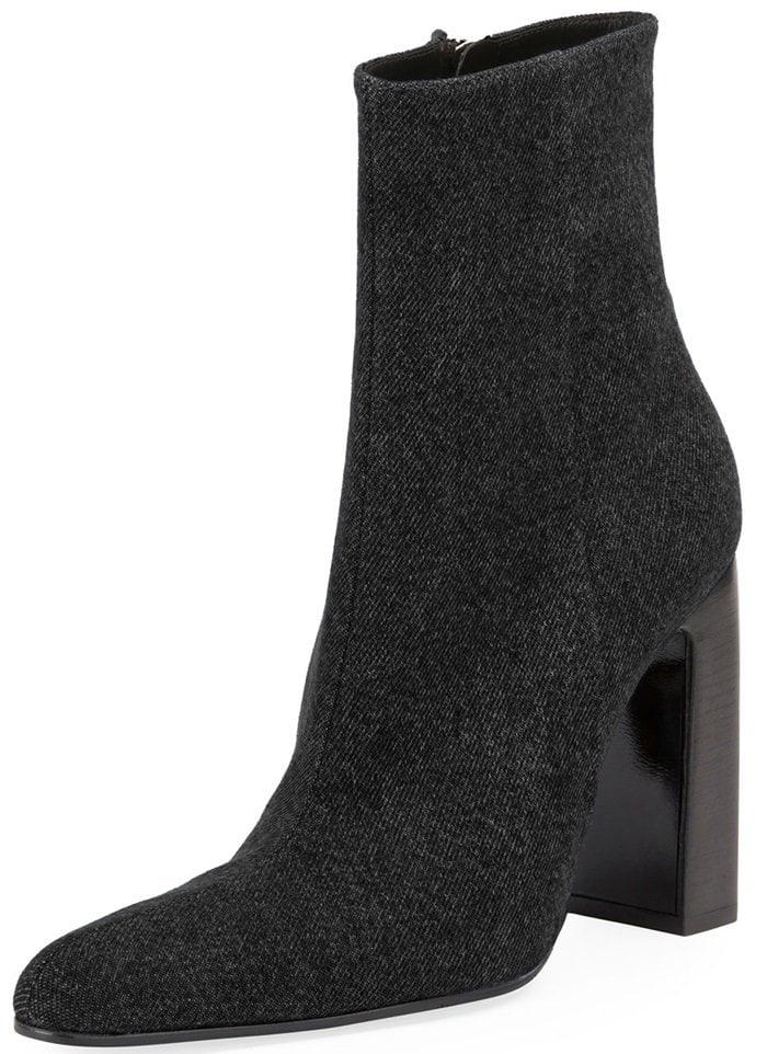 Black Denim Round-Toe Block-Heel Booties