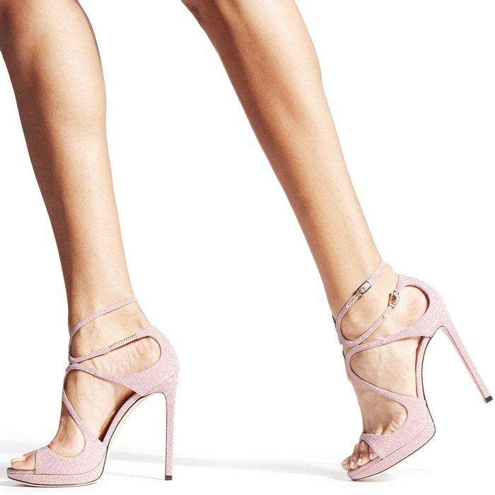 Ballet Pink Fine Glitter Fabric Sandals