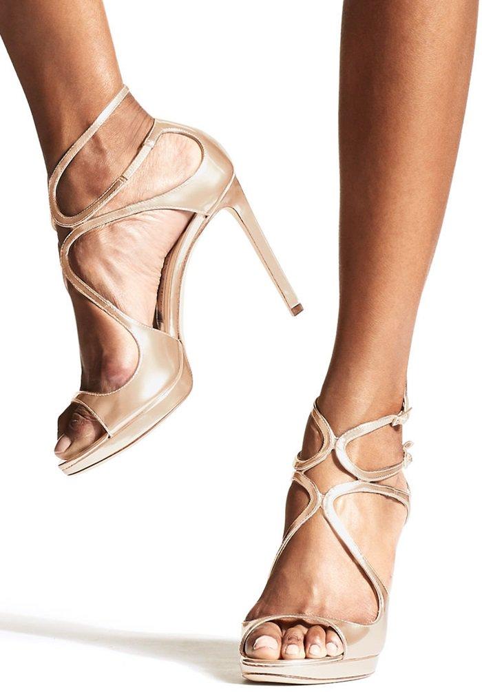 Ballet Pink Liquid Mirror Leather Strappy Sandals